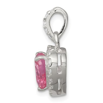 Sterling Silver Clear CZ and Pink CZ Heart Pendant