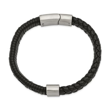 Stainless Steel Brushed Black Leather 8.25in Bracelet