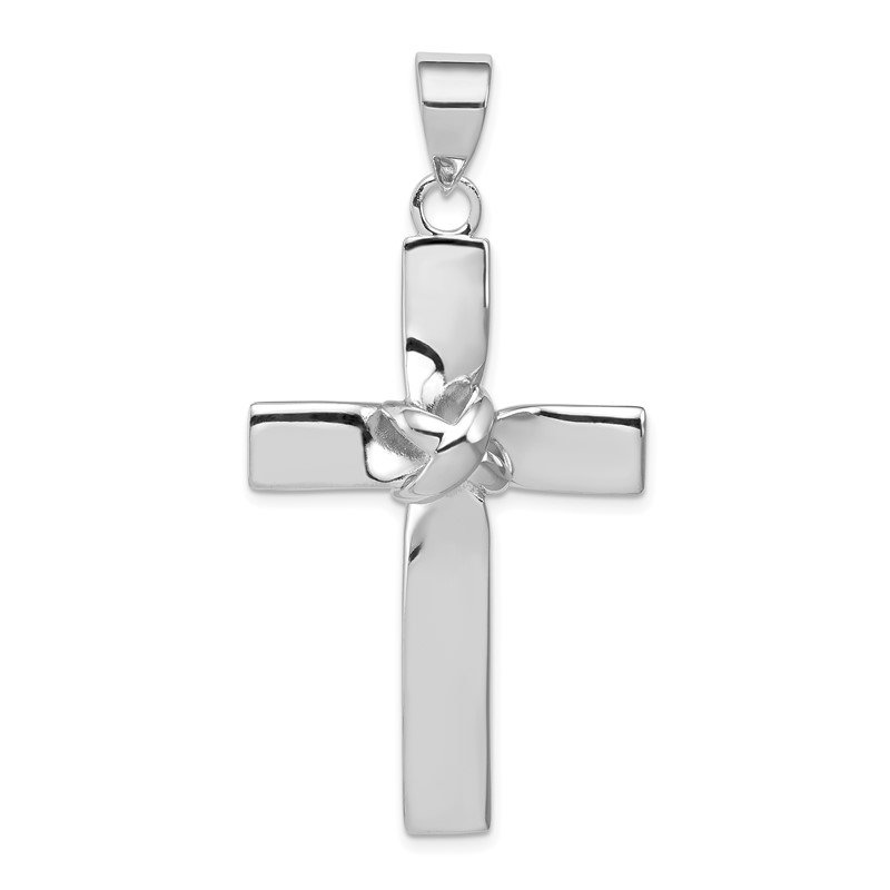Quality Gold Sterling Silver Rhodium-platedLatin Cross Pendant