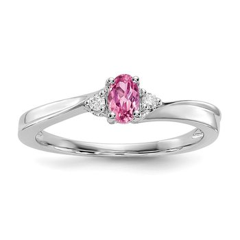Sterling Silver Rhodium-plated Pink CZ Birthstone Ring
