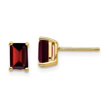 14k 6x4mm Emerald Cut Garnet Earrings