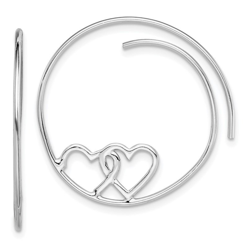 Quality Gold Sterling Silver Rhodium-plated Heart Hoop Earrings