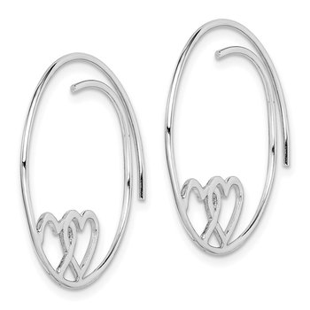 Sterling Silver Rhodium-plated Heart Hoop Earrings
