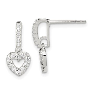 Sterling Silver CZ Heart Dangle Post Earrings