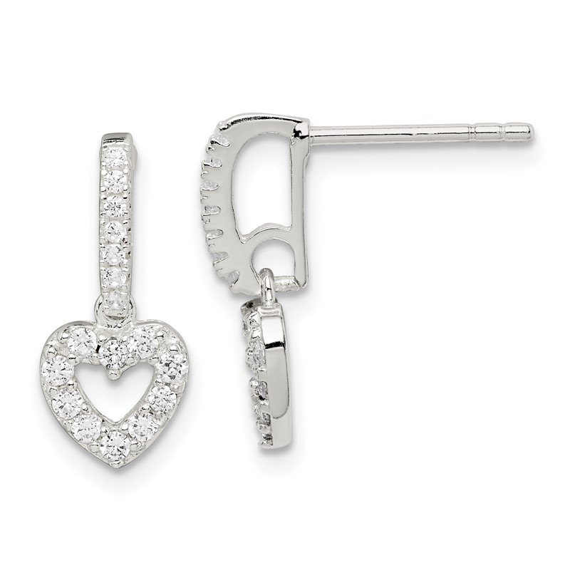 Quality Gold Sterling Silver CZ Heart Dangle Post Earrings