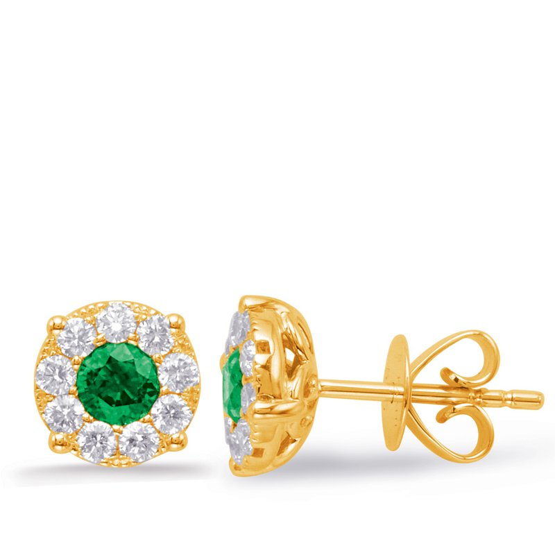 S. Kashi  & Sons Yellow Gold Emerald & Diamond Earring