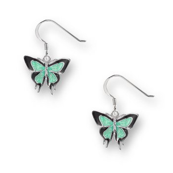 Green Butterfly Wire Earrings.Sterling Silver
