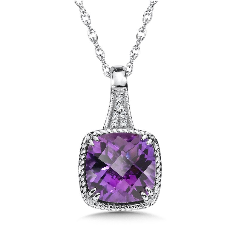 Colore Oro Amethyst and Diamond Pendant in 14K White Gold
