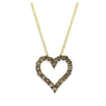 Champagne Diamond Heart Necklace in 14K Yellow Gold with 20 Diamonds Weighing .65 ct tw