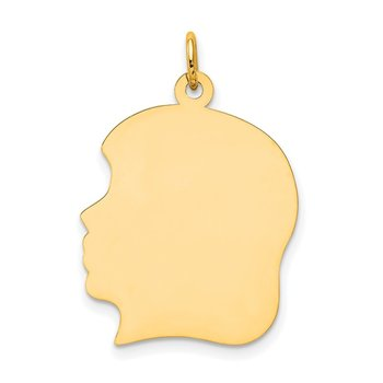 14k Plain Large .027 Gauge Facing Left Engravable Girl Head Charm