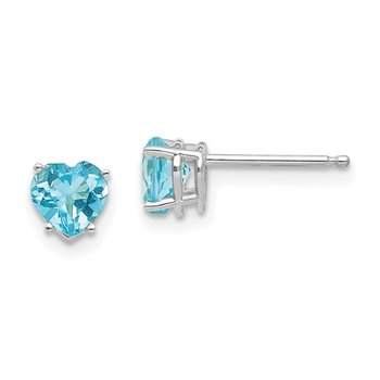 14k White Gold 5mm Heart Blue Topaz Earrings