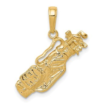 14k Solid Polished Open-Backed Golf Bag with Clubs Charm