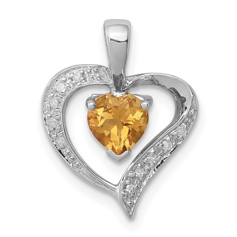 Quality Gold Sterling Silver Rhodium Heart Citrine & Diamond Heart Pendant