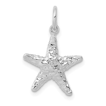 14K White Gold Polished 3-D Starfish Pendant