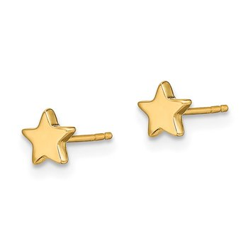 14k Gold Polished Star Post Earrings