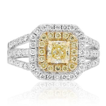 Radiant Cut Two Tone Diamond Ring