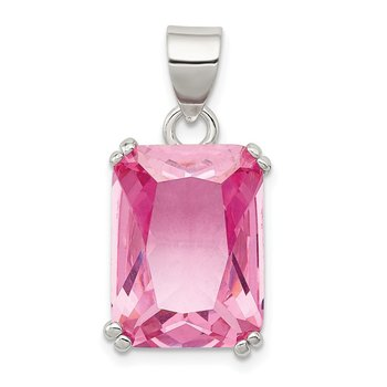 Sterling Silver Rectangle Pink CZ Pendant