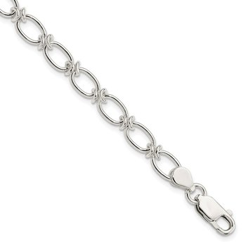 Sterling Silver Polished Oval Link Bracelet
