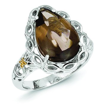 Sterling Silver w/14k Smoky Quartz Ring