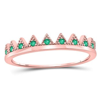 10kt Rose Gold Womens Round Emerald Chevron Stackable Band Ring 1/10 Cttw