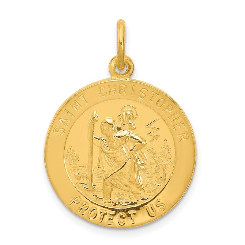 Quality Gold 24k Gold-plated Sterling Silver St. Christopher Medal