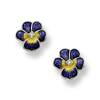Purple Pansy Stud Earrings.Sterling Silver-White Sapphires