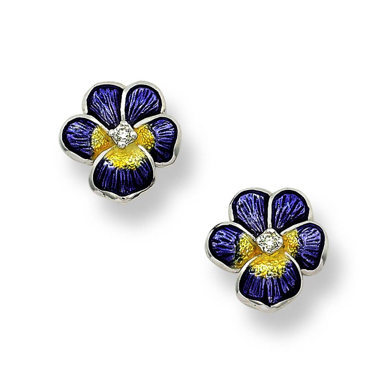 Nicole Barr Designs Purple Pansy Stud Earrings.Sterling Silver-White Sapphires