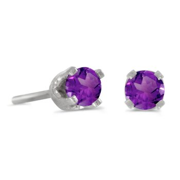 3 mm Petite Round Genuine Amethyst Stud Earrings in 14k White Gold