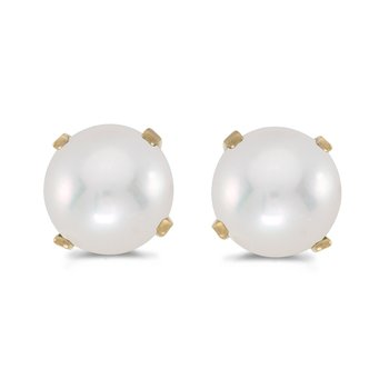 5 mm Freshwater Cultured Pearl Stud Earrings Set in 14k Yellow Gold