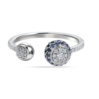 modern open design ring 31 diamonds 0.17CT & 41 sapphires 0.40CT