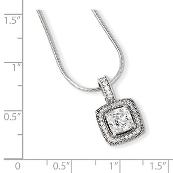 SS Rhodium-Plated & CZ Brilliant Embers Necklace