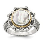 Shey Couture Sterling Silver w/14k Antiqued MOP and Diamond Ring