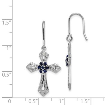 Sterling Silver Rhodium plated Diamond Accent Cross Earrings