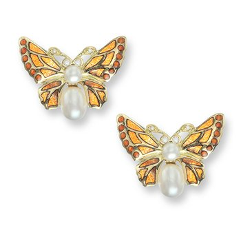 Orange Butterfly Stud Earrings.18K -Diamonds and Freshwater Pearls - Plique-a-Jour