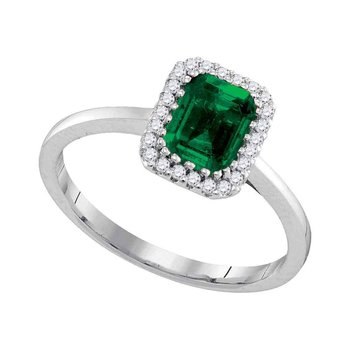 14kt White Gold Womens Emerald Emerald Solitaire Diamond Ring 1.00 Cttw