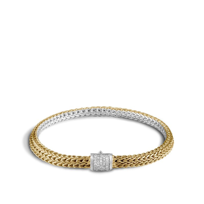 JOHN HARDY Classic Chain 5MM Reversible Bracelet, Silver, 18K, Diamonds