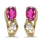 Color Merchants 14k Yellow Gold Oval Pink Topaz And Diamond Earrings