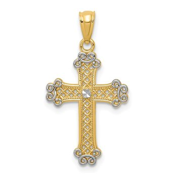 14k w/Rhodium Diamond-cut Filigree Cross Pendant