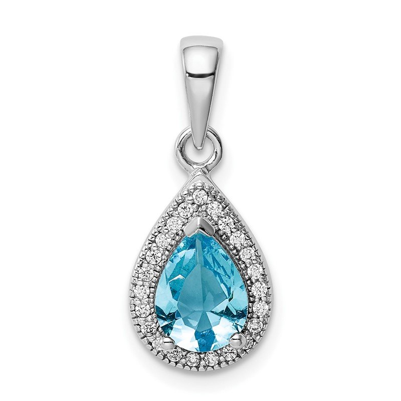 Quality Gold Sterling Silver Rhod Plated Blue and Clear CZ Pendant