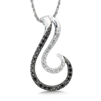Pave set Black and White Diamond Double Wave Pendant, 10k White Gold  (1/4ct. dtw.)