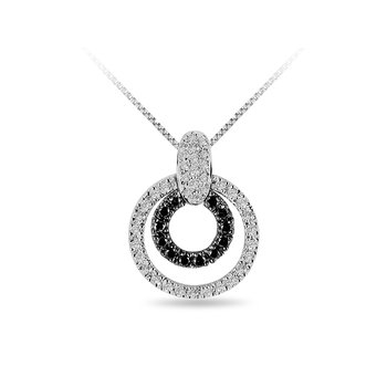 14K WG Diamond & Black/Chocolate Dia. Pendant