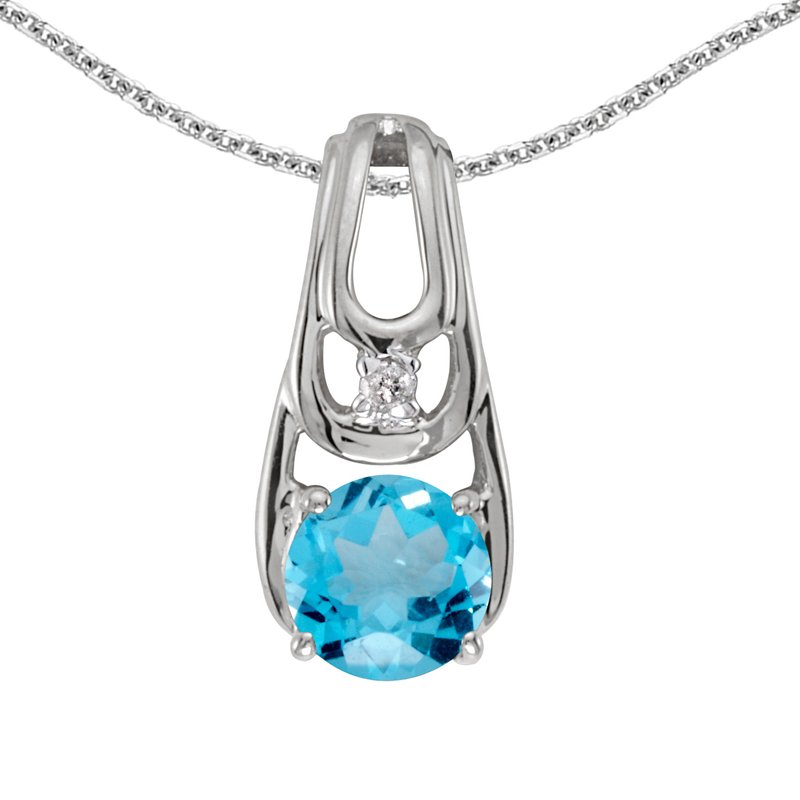 14k White Gold Round Blue Topaz And Diamond Pendant