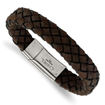 Stainless Steel Brushed Brown Leather Bracelet