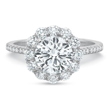 18K white gold semi mount for 1.50 ct center