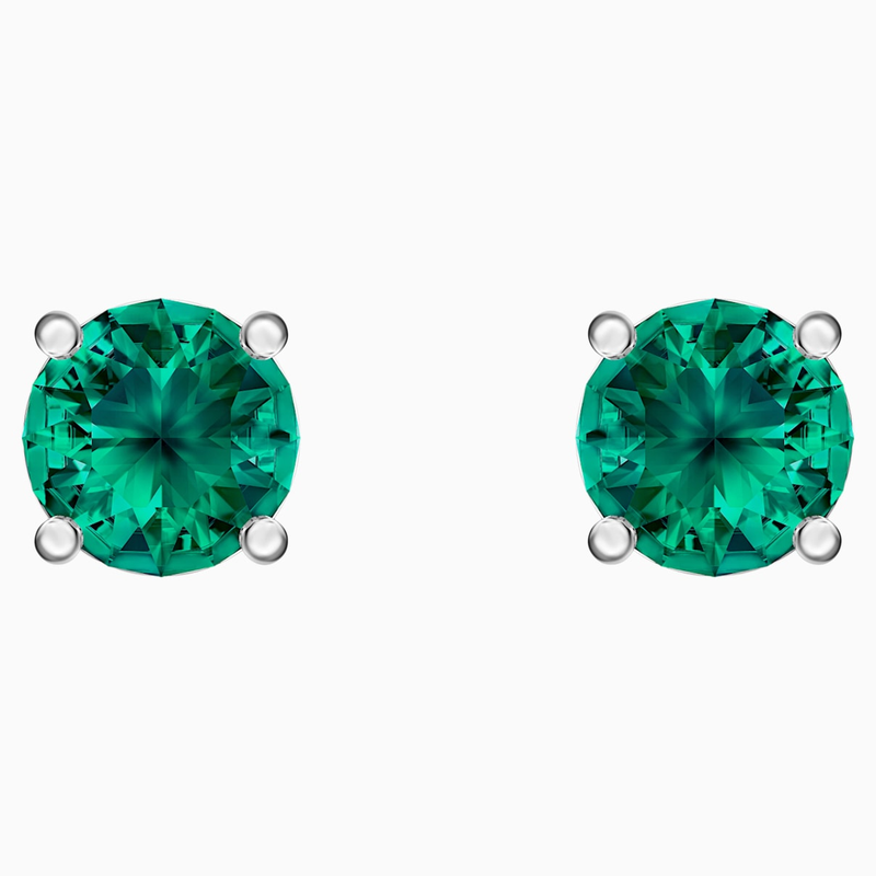 Swarovski Attract Stud Pierced Earrings, Green, Rhodium plated