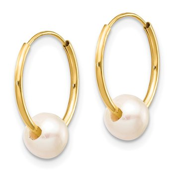 14k 5-6mm White Semi-round Freshwater Cultured Pearl Endless Hoop Earrings