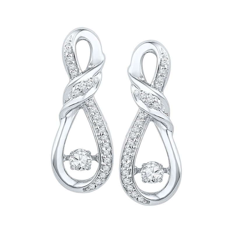 Kingdom Treasures 10kt White Gold Womens Round Diamond Moving Twinkle Solitaire Twist Ribbon Earrings 1/3 Cttw