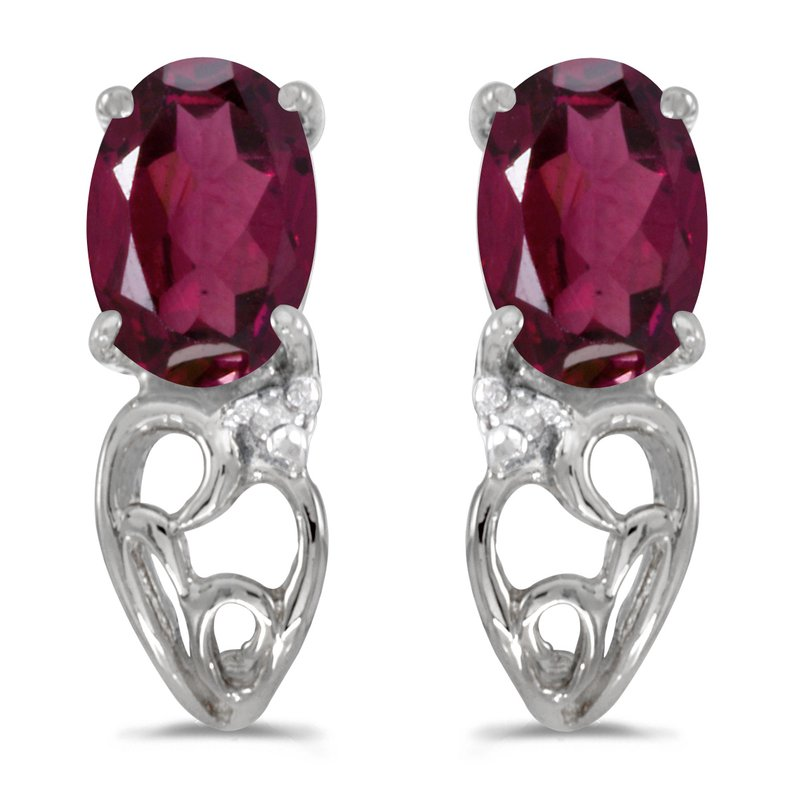 Color Merchants 14k White Gold Oval Rhodolite Garnet And Diamond Earrings