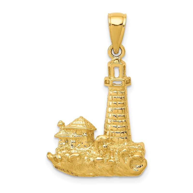 Quality Gold 14k Lighthouse Pendant