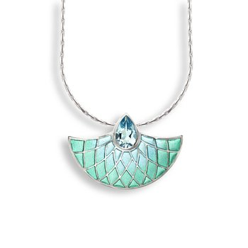 Blue Art Deco Fan Necklace.Sterling Silver-Blue Topaz - Plique-a-Jour